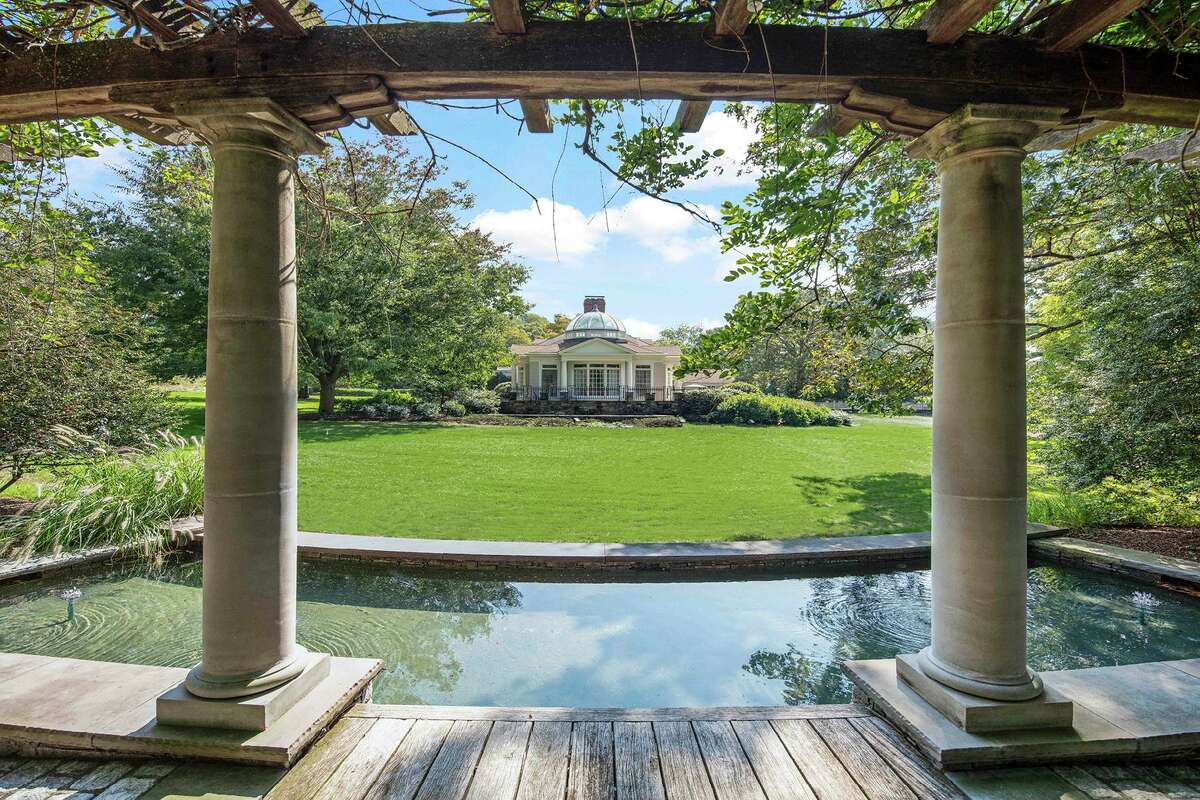 Reflecting pool and arbor at 1211 Old Academy Road, Fairfield.