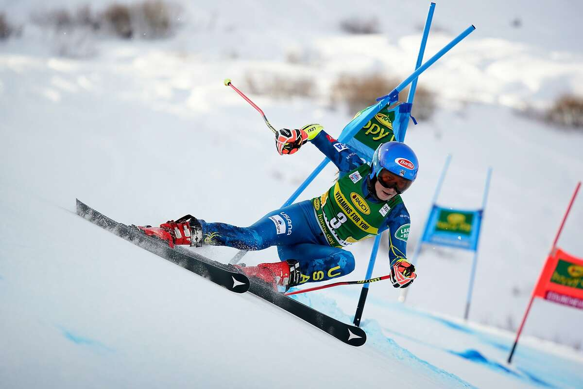 COURCHEVEL, FRANCE - DECEMBER 14: Mikaela Shiffrin of USA in action during the Audi FIS Alpine Ski World Cup Giant Slalom on December 14, 2020 in Courchevel, France. (Photo by Agence Zoom/Getty Images)