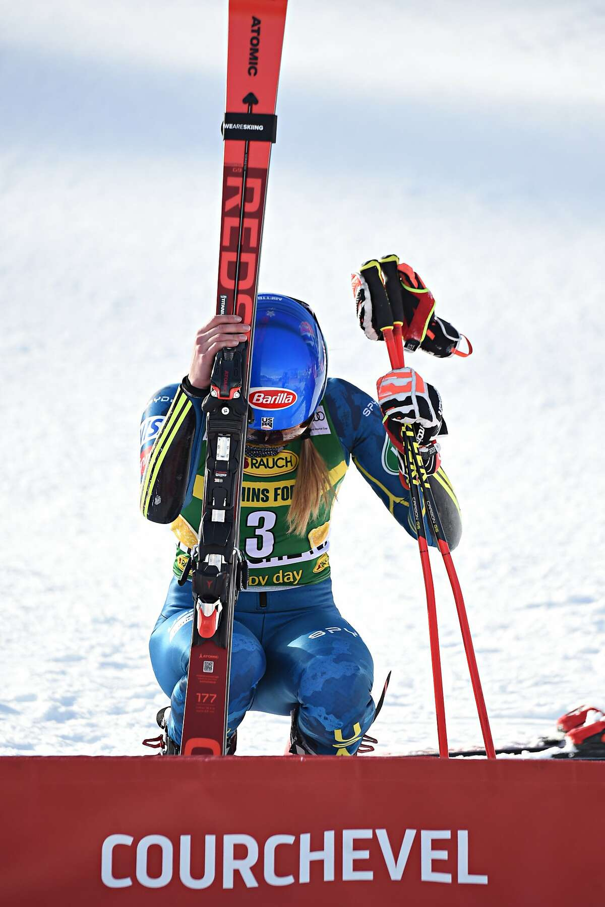 COURCHEVEL, FRANCE - DECEMBER 14: Mikaela Shiffrin of USA takes 1st place during the Audi FIS Alpine Ski World Cup Giant Slalom on December 14, 2020 in Courchevel, France. (Photo by Agence Zoom/Getty Images)