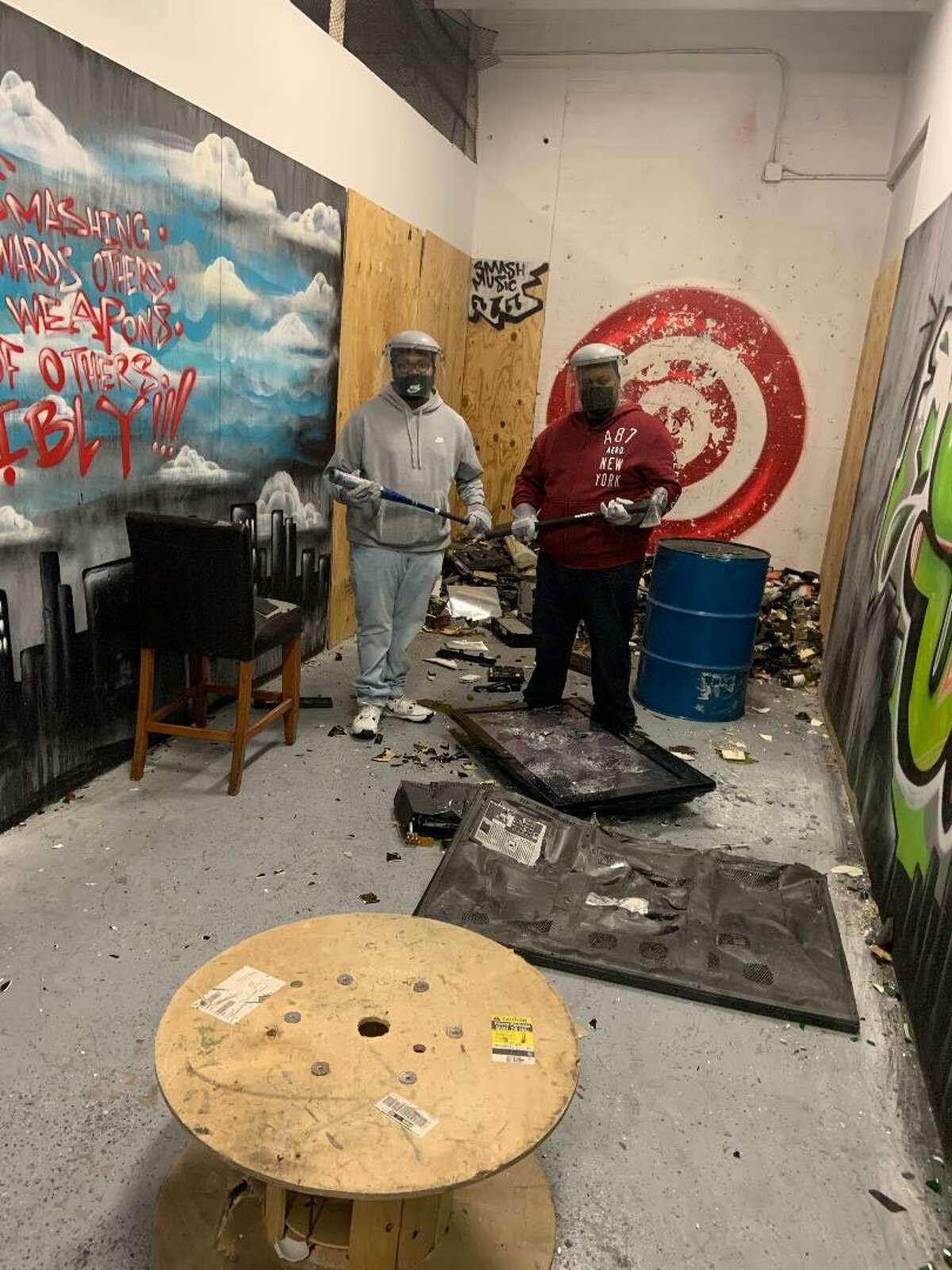 Smash Avenue in West Hartford allows customers to smash and destroy anything from electronics to furniture to plumbing fixtures. It began accepting customers on Nov. 5, 2020.