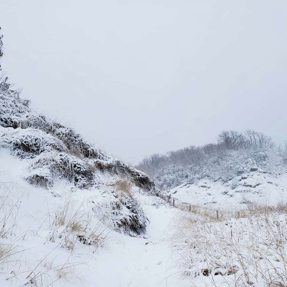 Arcadia's Baldy Trail overlook area on Dec. 12, 2020 shows some stunning winter scenery after a brief hike. Photo: Arielle Breen/News Advocate