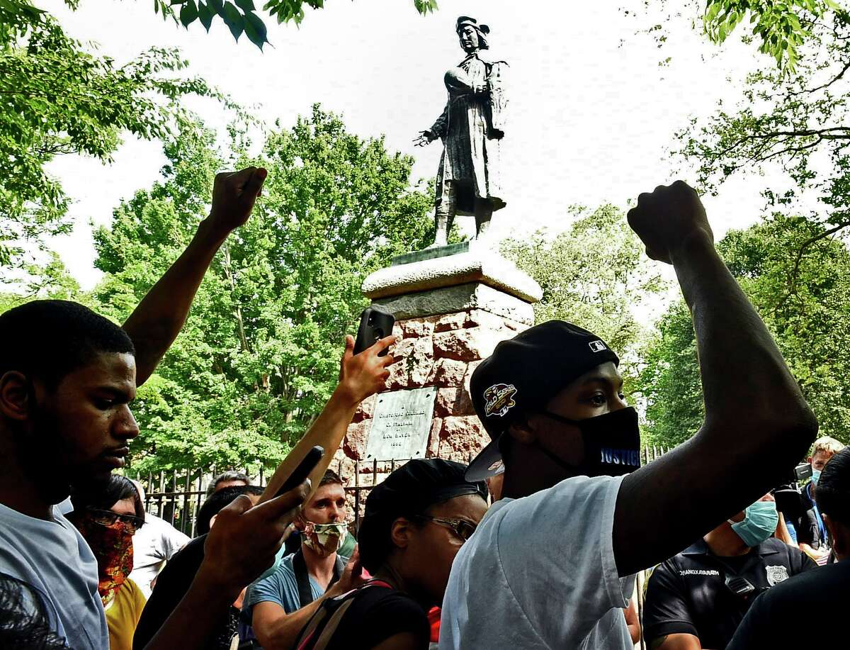 The statue of Christopher Columbus was removed from Wooster Square park Wednesday afternoon hours after a skirmish erupted early in the morning between people of opposing viewpoints on June 24.