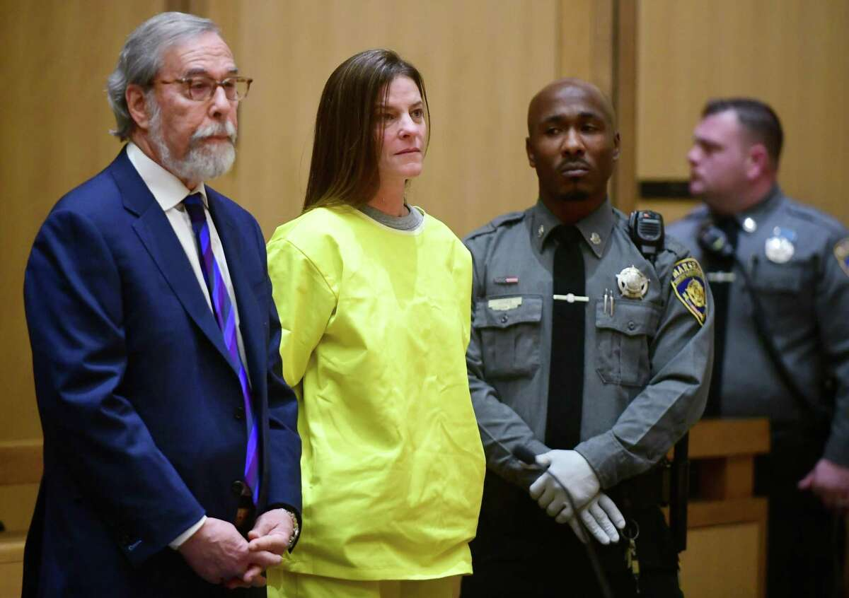 Michelle Troconis is arraigned on conspiracy to commit murder charges in Stamford Superior Court Wednesday, Jan. 8, 2020, in Stamford, Conn. Troconic had been previously charged with evidence tampering in the disappearance of Fotis Dulos' wife, Jennifer Dulos.