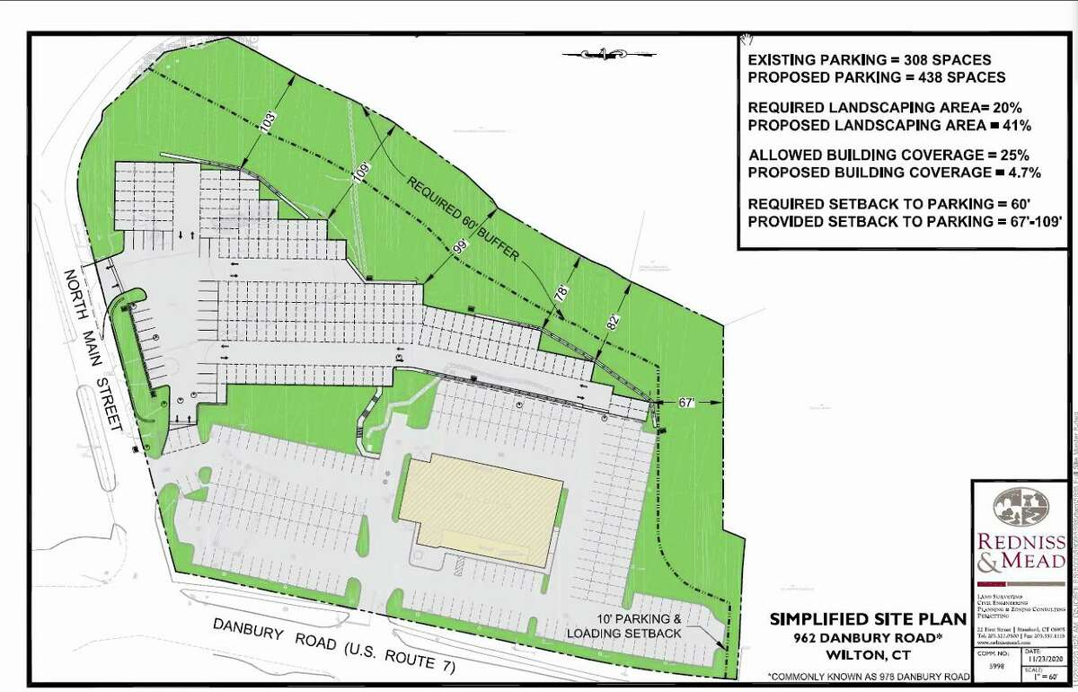 The site plan submitted to the Planning and Zoning Commission shows parking plans for Bruce Bennett Nissan on Route 7. The commission held a public hearing on the application on Dec. 14, 2020.