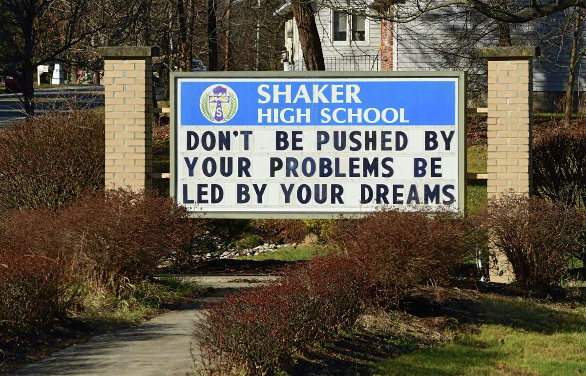 Sign for Shaker High School on Tuesday, Dec. 15, 2020 in Colonie, N.Y. More districts announced they are shifting entirely to remote learning until January. (Lori Van Buren/Times Union)