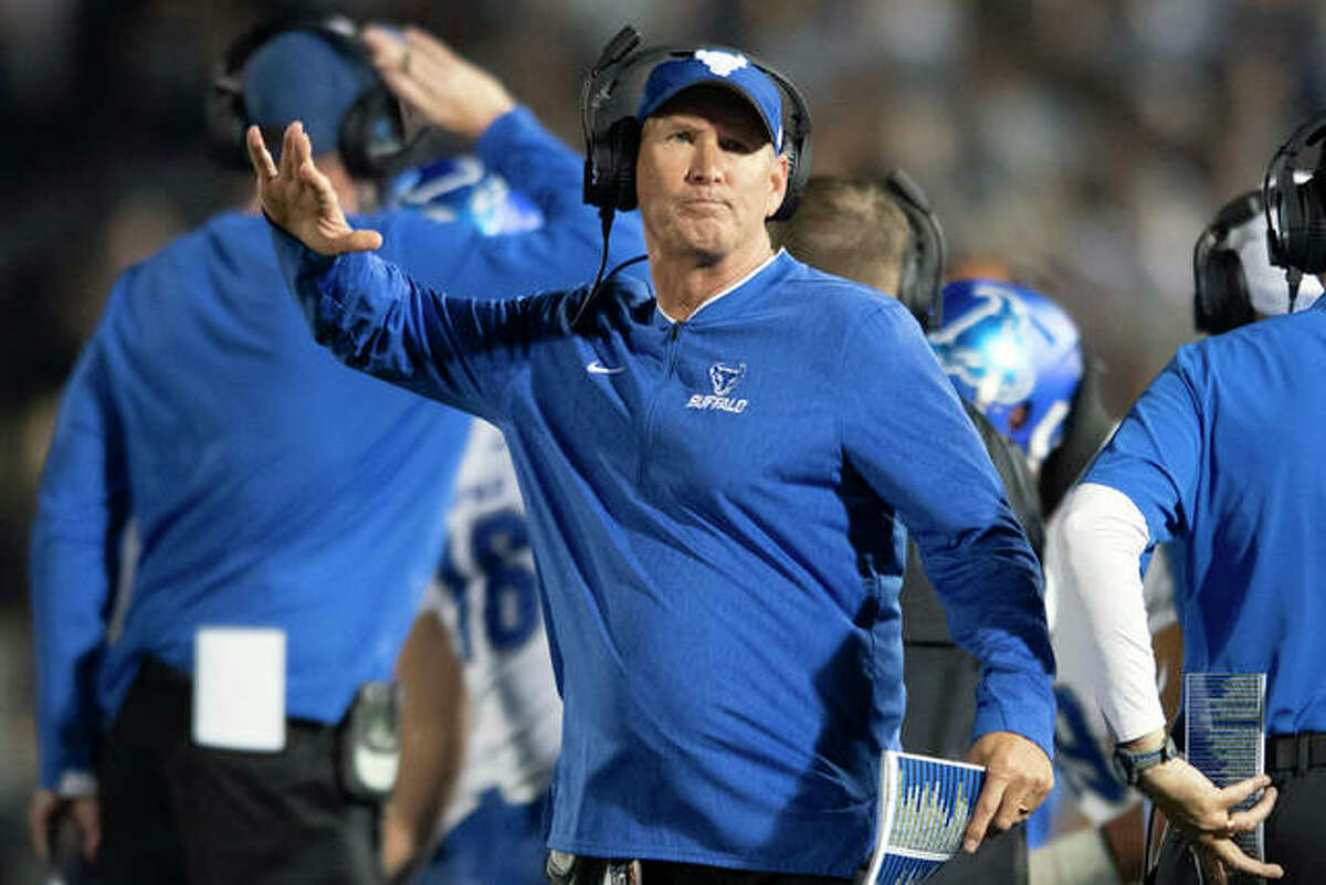 Buffalo head coach Lance Leipold reacts to a call in the second quarter of an NCAA college football game against Penn State in State College, Pa., in this Saturday, Sept. 7, 2019, file photo. Leipold could be a candidate for the vacant coaching job at the University of Illinois.