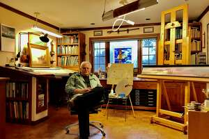 Len Tantillo in his studio in Nassau, Rensselaer County, ewhere he is preparing a major 40-year retrospective of his paintings of history.