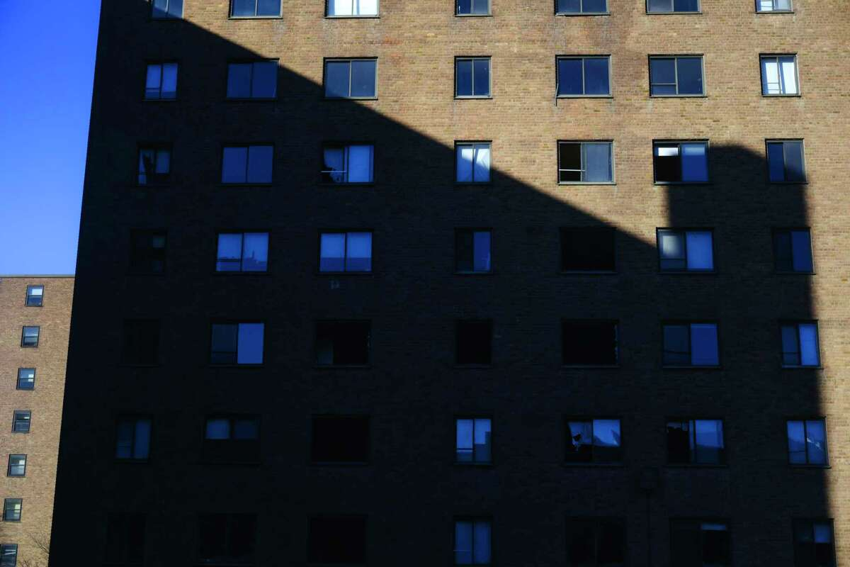 Taylor Apartments building #2 casts a shadow on to building #1, with a portion of building #3 seen in the background left, on Tuesday, Dec. 15, 2020, in Troy, N.Y. (Paul Buckowski/Times Union)