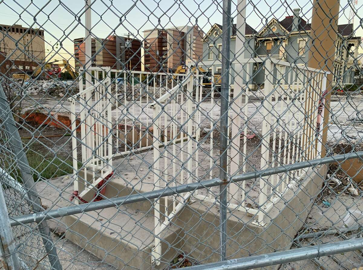 Steps leading to nowhere on the site of a former two-story hotel at 405 Broadway.