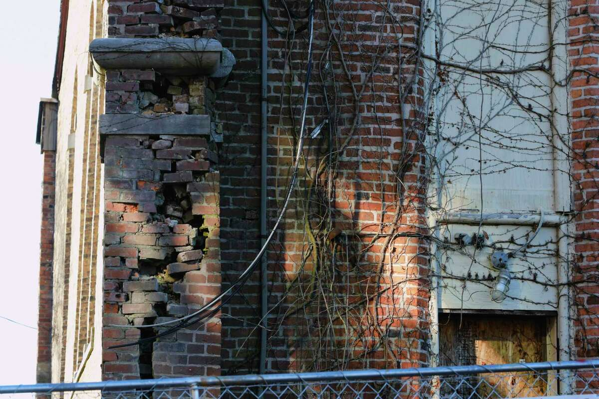 A view of the deteriorating building on 2nd Street that was the former St Jean de Baptiste Church, seen here on Tuesday, Dec. 15, 2020, in Troy, N.Y. (Paul Buckowski/Times Union)