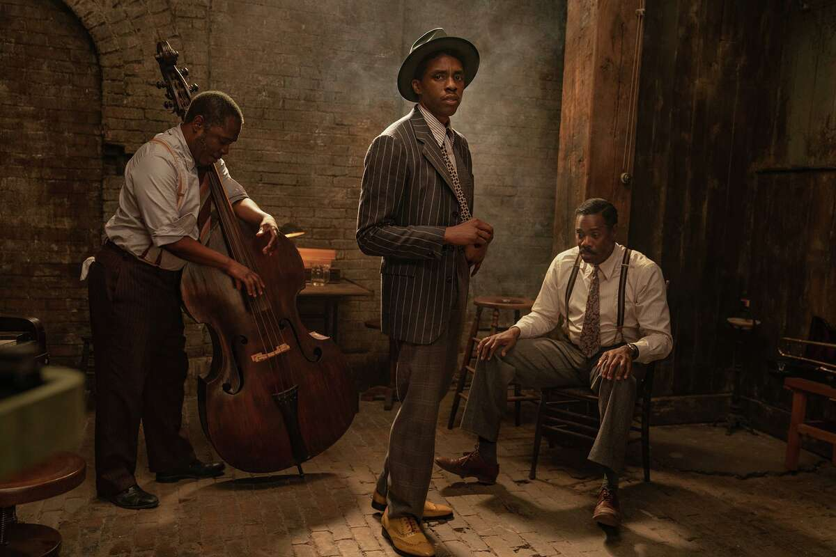 """With Michael Potts, left, and Colman Domingo, right, Chadwick Boseman shines in his final performance in """"Ma Rainey's Black Bottom."""""""