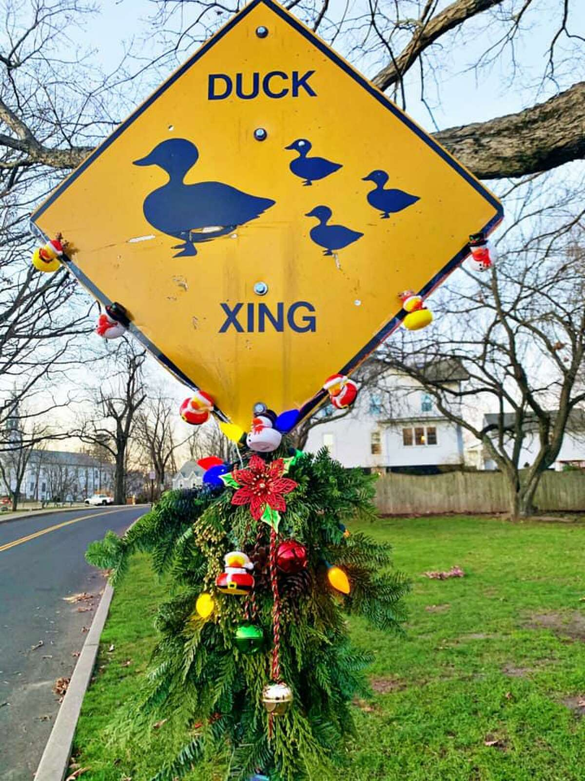Several hundred people decorated their street signs as part of the Milford Challenge