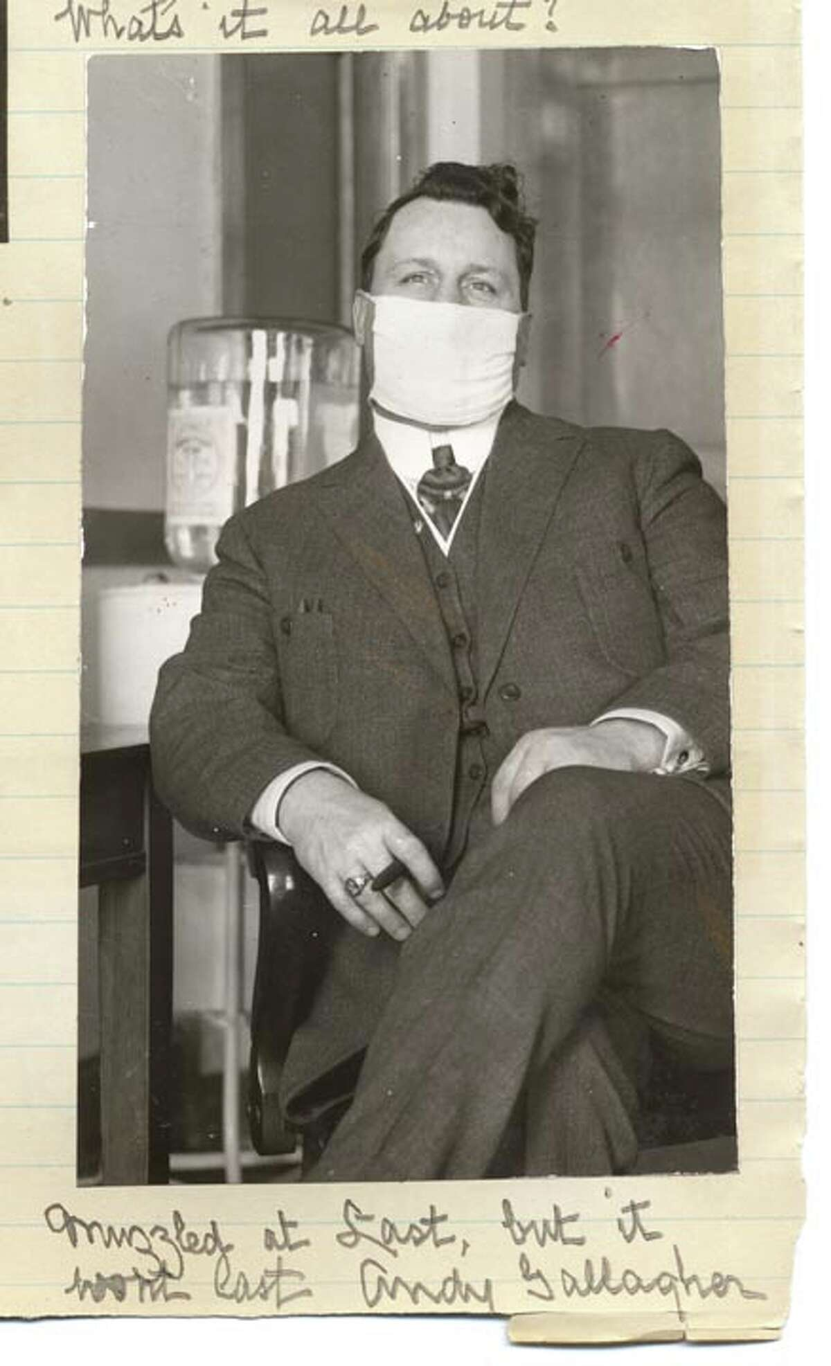 San Francisco Supervisor Andrew Gallagher introduced the second mask ordinance that finally passed in mid-January 1919. The quote under the photo reads,