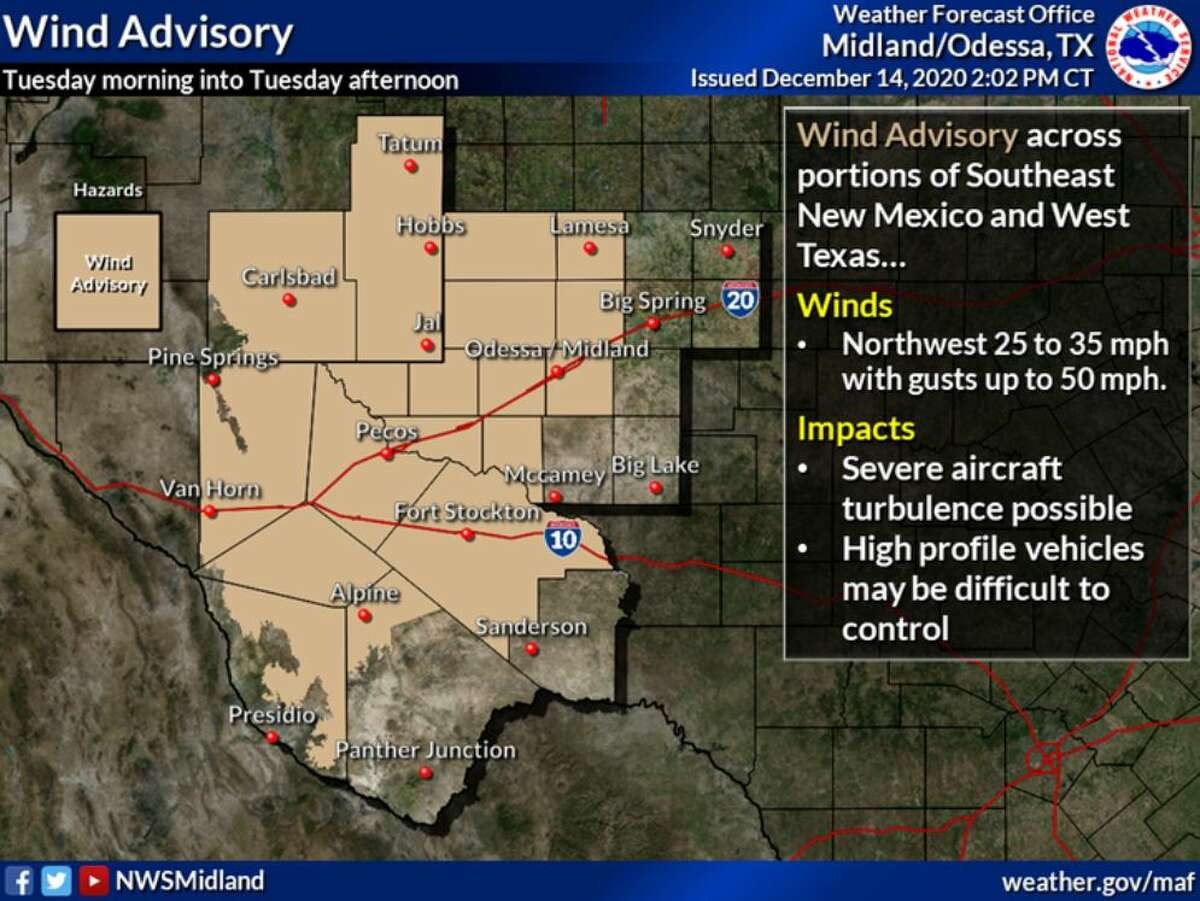 A Wind Advisory is in effect for most of West Texas and Southeast New Mexico from mid morning through mid afternoon.