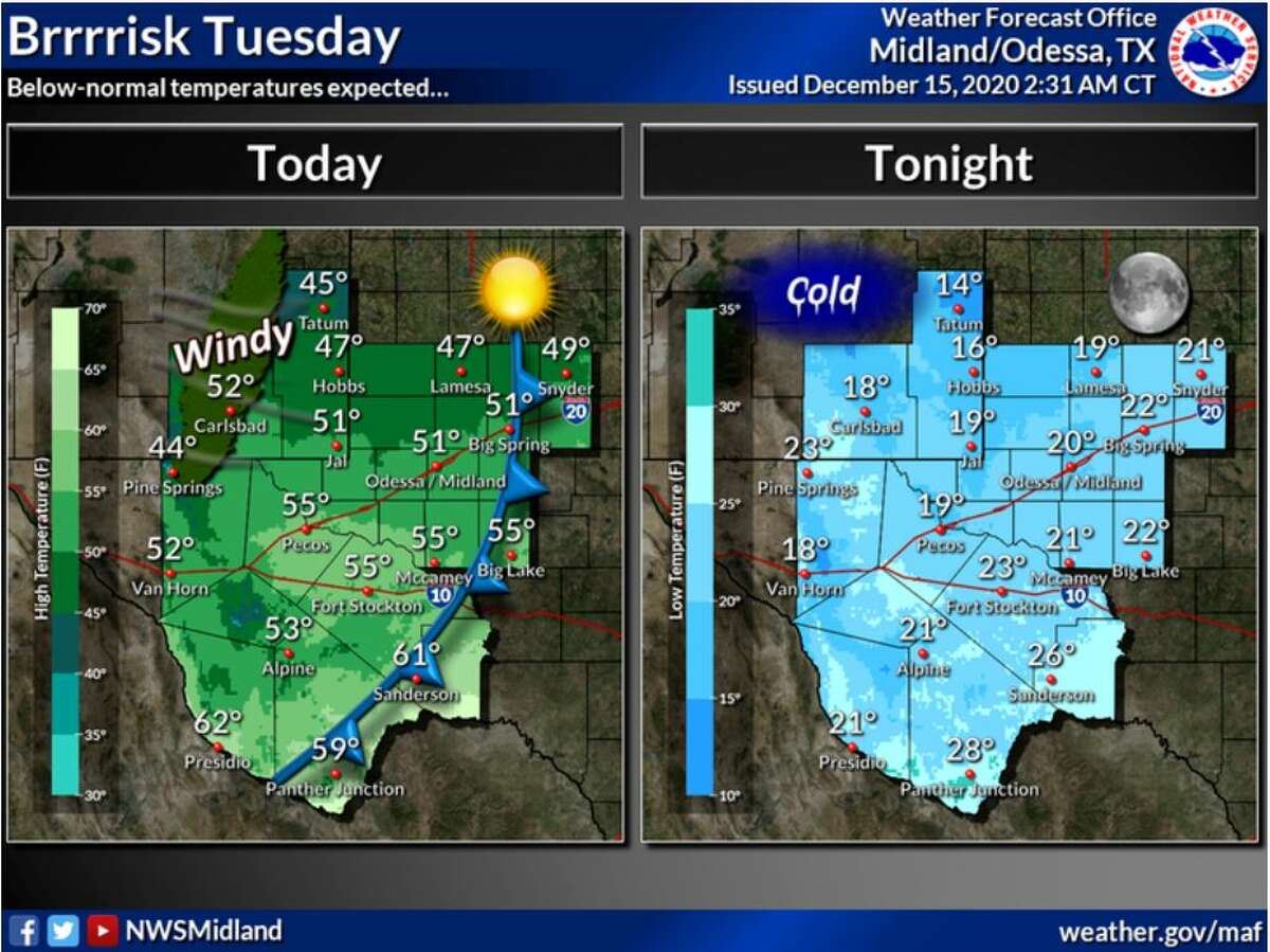 Below-normal temperatures are expected today and tonight.