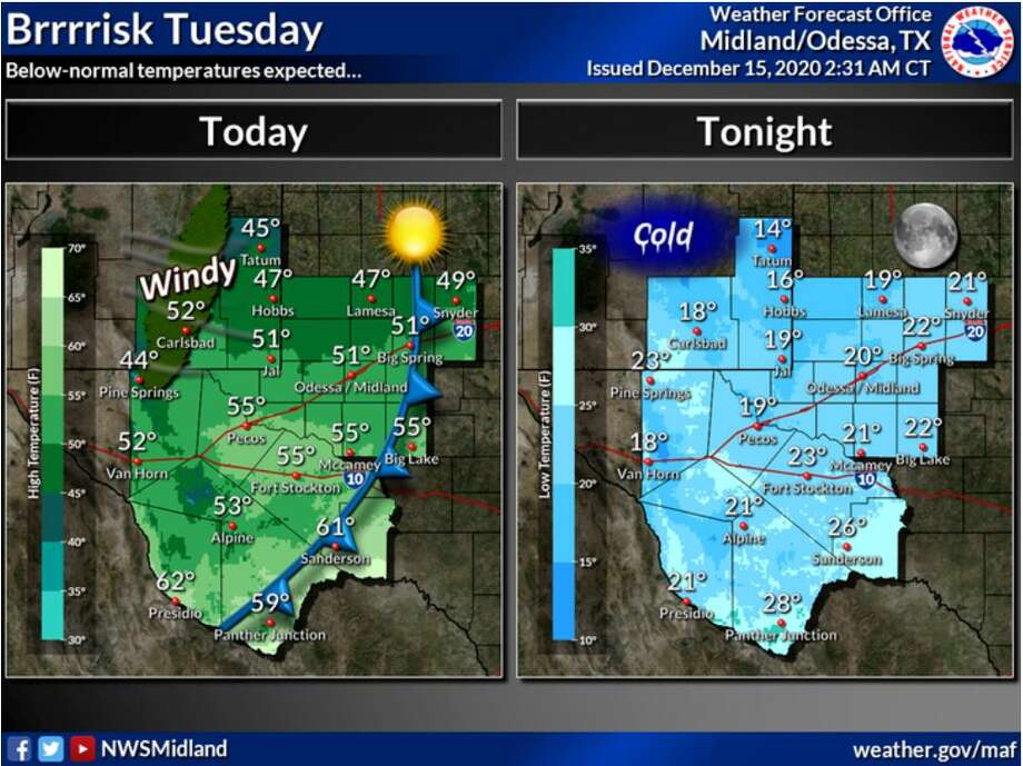 Below-normal temperatures are expected today and tonight. Photo: Midland National Weather Service