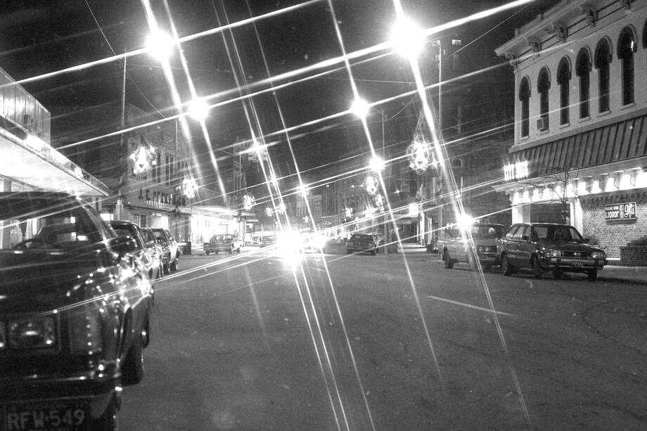From the front page of the News Advocate 40 years ago today is a view looking east down River Street near Maple Street highlighting the sparkling lights and holiday decorations. (Manistee County Historical Museum photo)