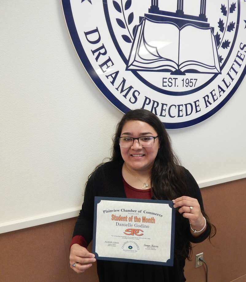 Danielle Godino, a 21-year-old South Plains College sophomore, was recognized as the December Student of the Month. Photo: Provided By The Chamber Of Commerce