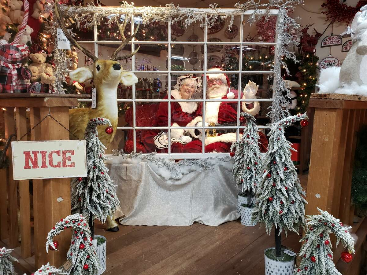 Santa and Mrs. Claus at Hollandia Nurseries in Bethel, Conn. during the 2020 holiday season.