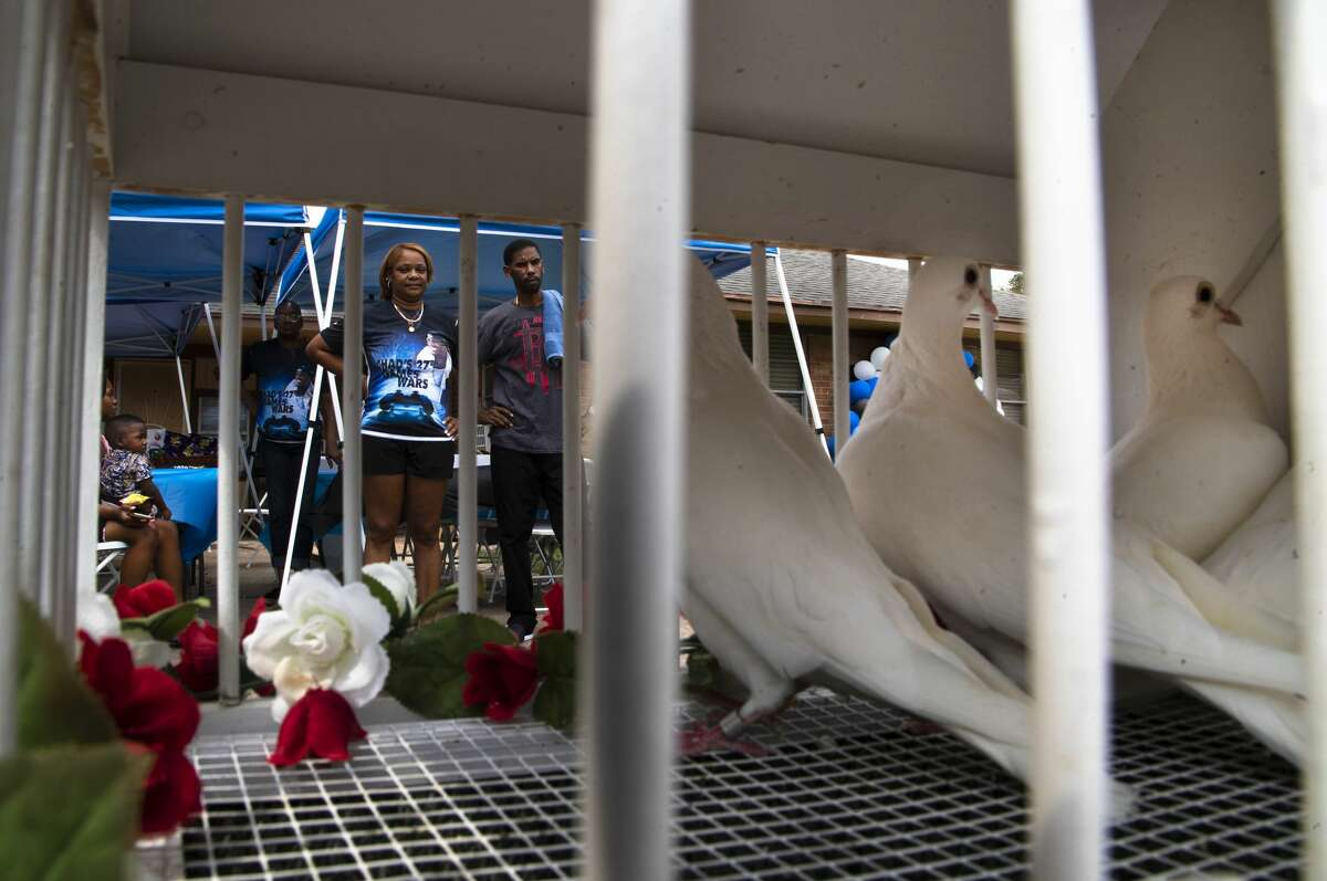 Chaz Jones' family gather for a dove release Aug. 22, 2020.