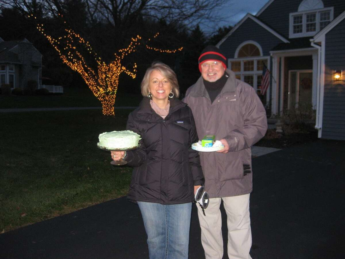 Ed and Kate McCormick of Chesterfield Drive in Voorheesville led an effort to put lights on trees along their street.