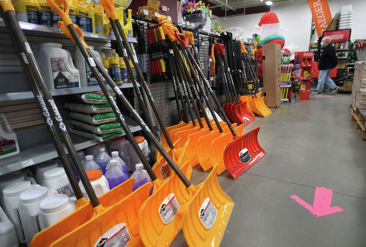 Snow shovels for sale in preparation for Wednesday's impending snow for at Ace Hardware by Haynes in Oxford, Conn. on Tuesday, December 15, 2020.