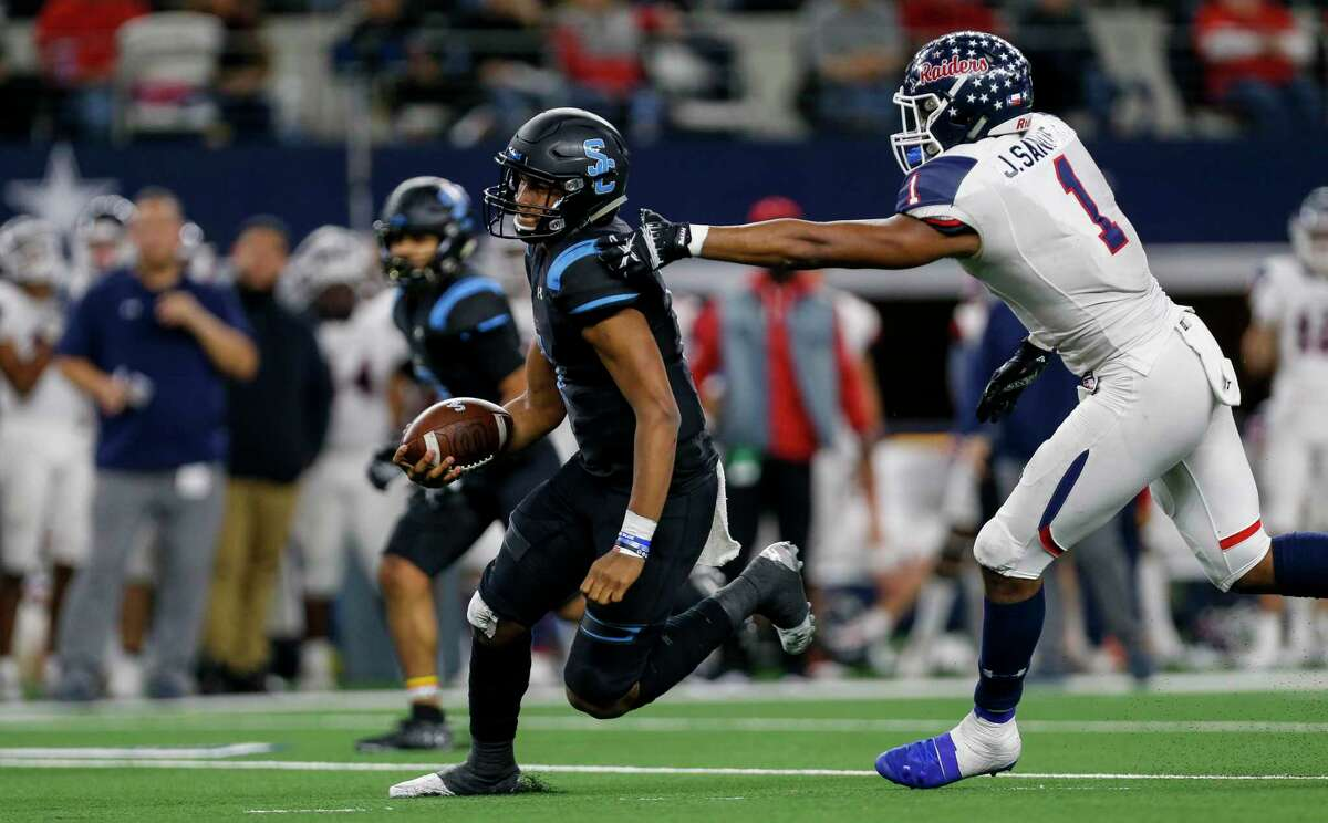 Denton Ryan's Ja'Tavion Sanders, right, uses his speed on the defensive side of the ball but also is an offensive star.