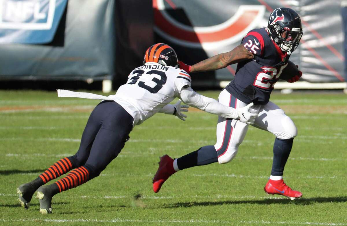 Texans running back Duke Johnson missed his second practice in a row Friday due to a neck injury and is regarded as unlikely to play Sunday against the Indianapolis Colts.
