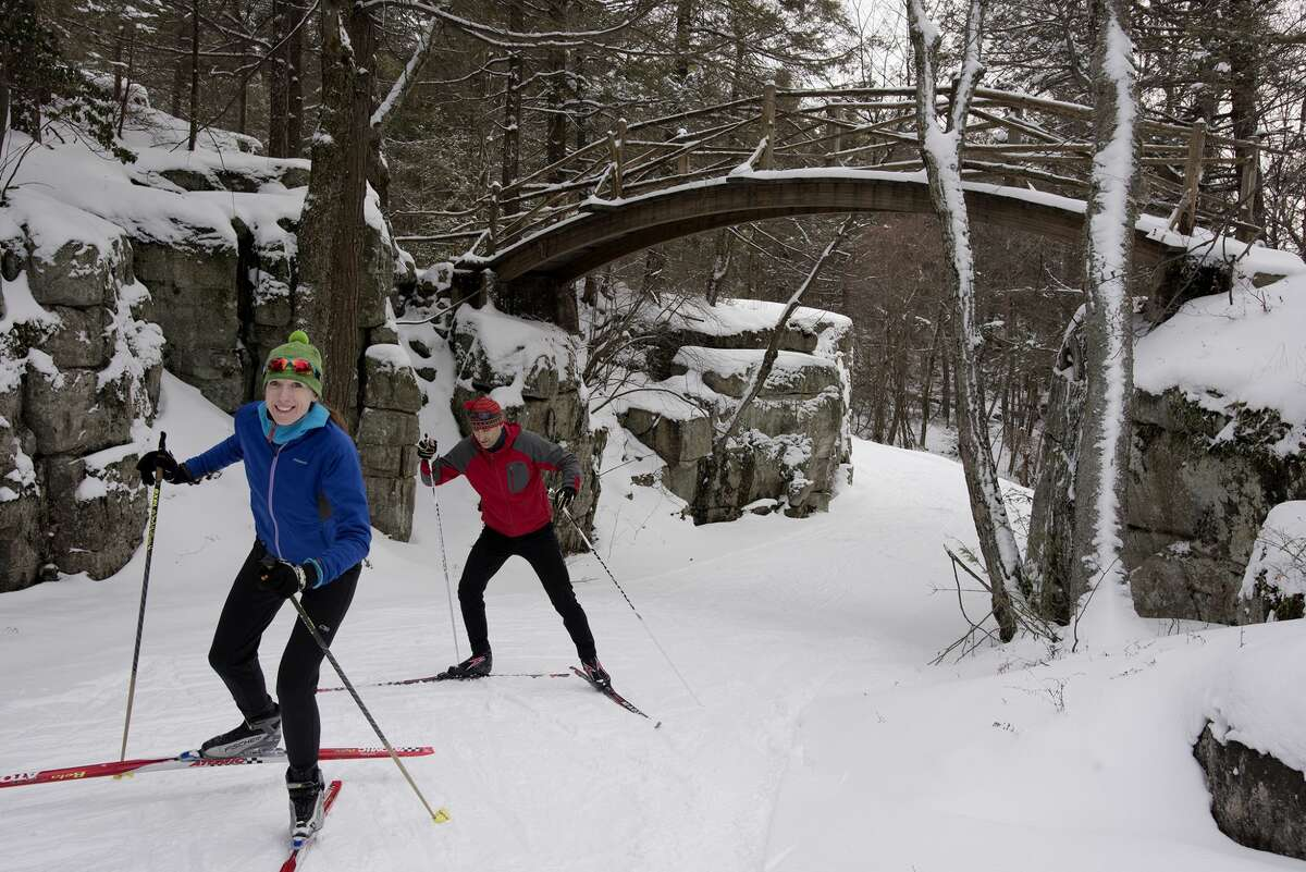 Mark and Veronica Ruoff ski trails at Minnewaska State Park, where higher elevation sometimes means you can ski all the way through March.