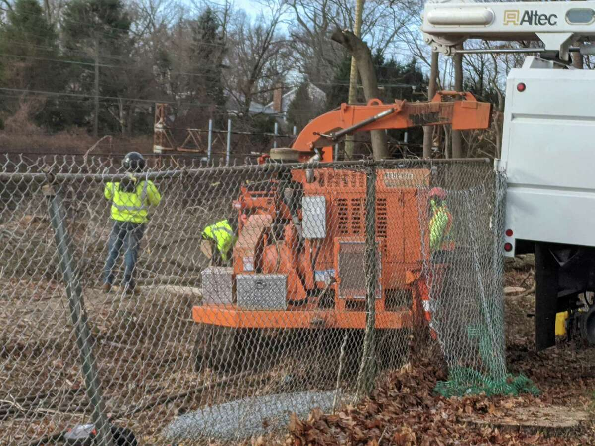 Metro-North's ongoing work to remove trees along the railroad tracks in Riverside has met with protest from residents who say removing all of the trees will increase noise pollution and create an environmental issue. Photographed in the Riverside section of Greenwich on Dec. 15, 2020.