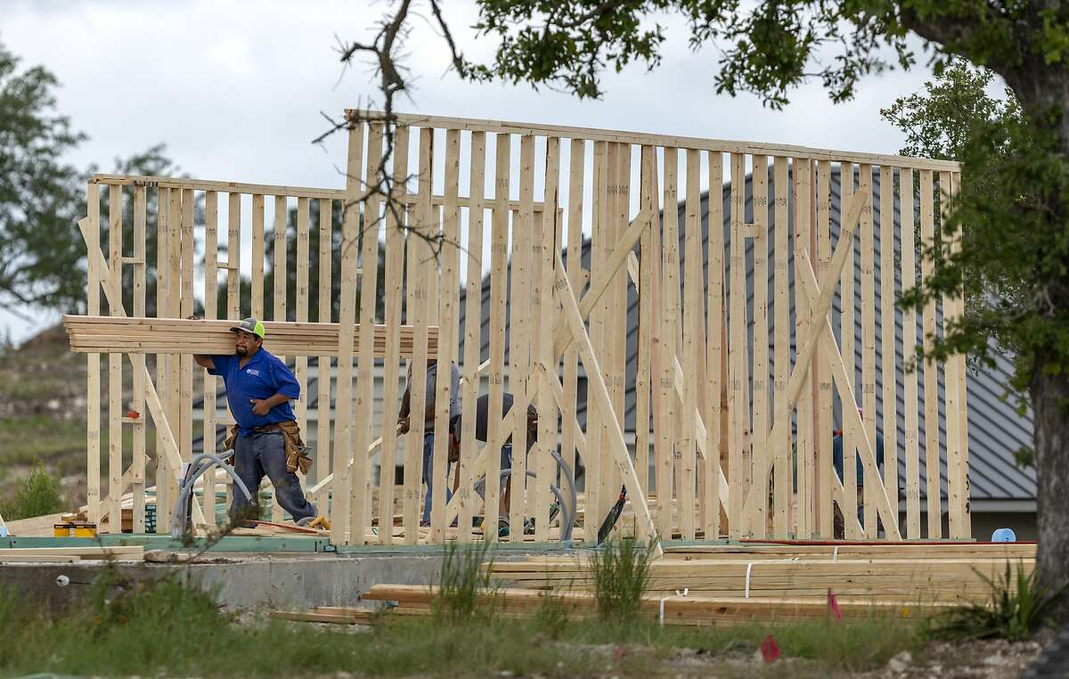 A home is built Wednesday, June 17, 2020 in the Sitterle Homes community of Miralomas west of Boerne.Texas Gov. Greg Abbott will hear from construction workers Tuesday in San Antonio.