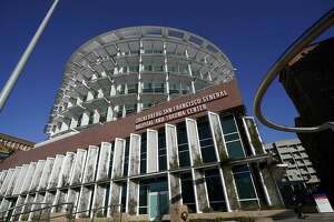 The exterior of Zuckerberg San Francisco General Hospital and Trauma Center is shown in San Francisco, Monday, Dec. 14, 2020. (AP Photo/Jeff Chiu)