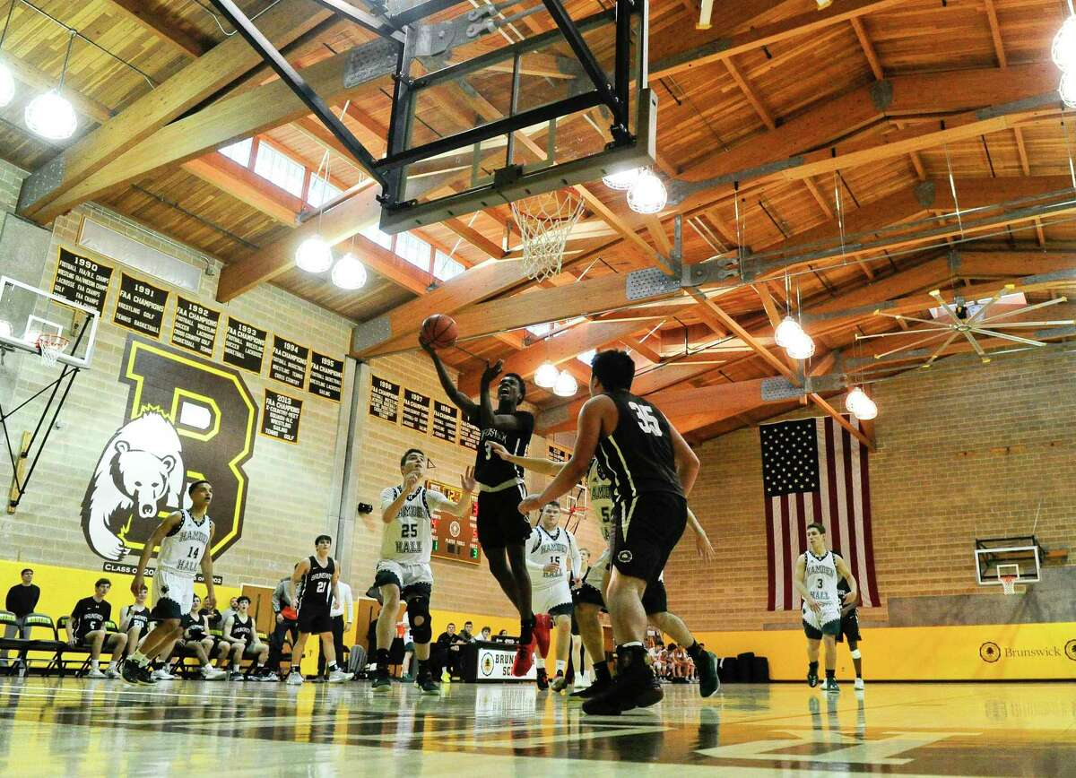 Hamden Hall defeats Brunswick 59-58 in an FAA boys basketball game at Brunswick School on Feb. 14, 2020 in Greenwich Connecticut.