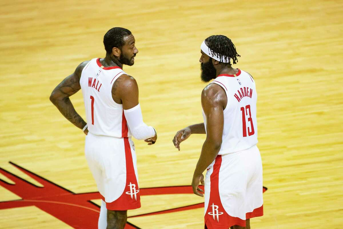 John Wall (1) and James Harden shared a backcourt as Rockets teammates for the first time Tuesday. How long they'll be doing that remains up in the air given Harden's desire to be traded.