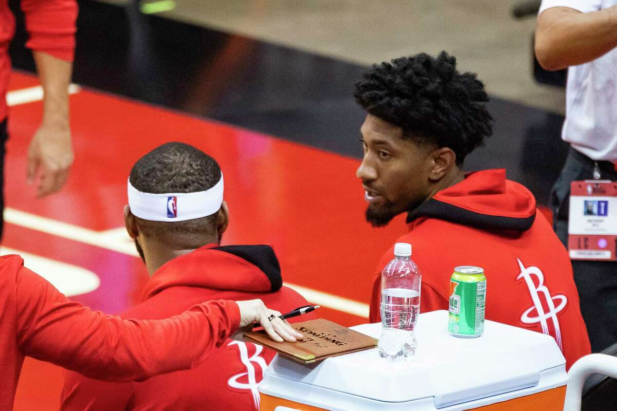 The Rockets hope to have newcomer Christian Wood (right) in the lineup for the first time this preseason when they host the Spurs on Thursday.