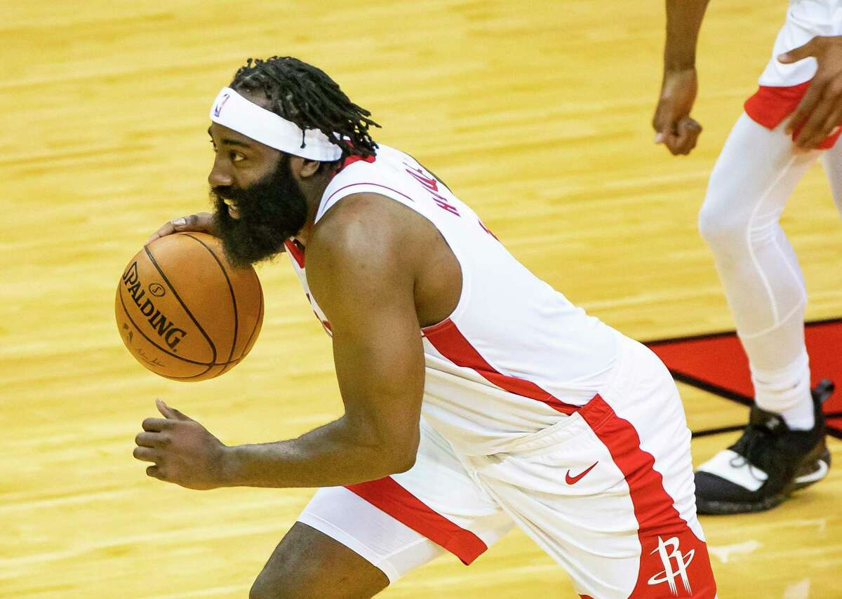 Rockets guard James Harden makes a break for the other side of the floor during Tuesday's 112-98 preseason victory over the Spurs at Toyota Center.