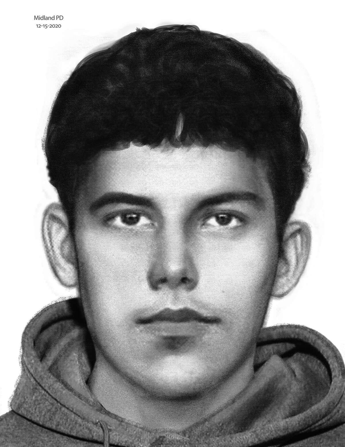 The Midland Police Department released the sketch above of a suspect involved in the shooting death of a 20-year-old man, according to a press release from the city's spokeswoman.