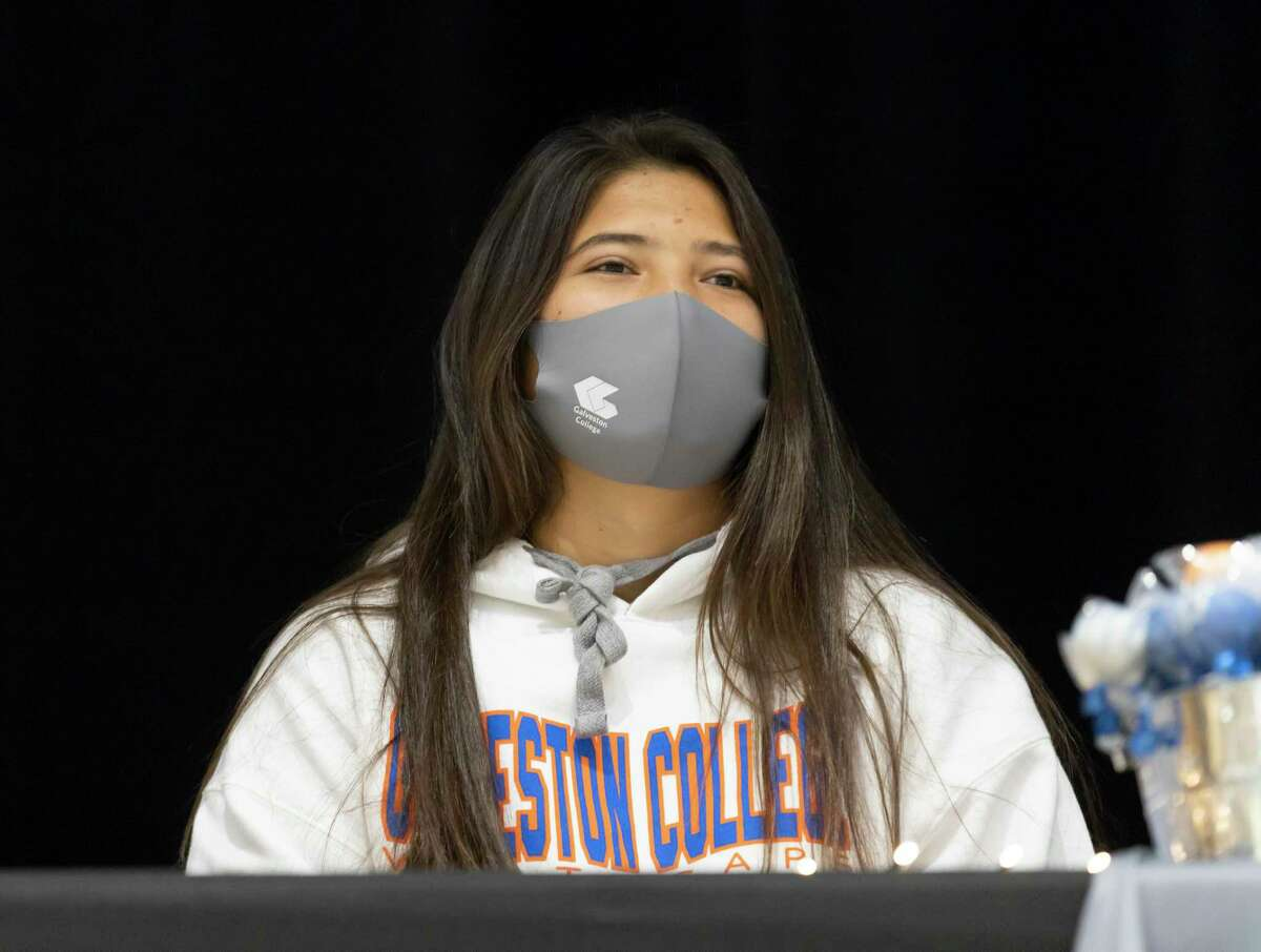 Marissa Fletcher, who signed with Galveston College's softball team, looks out to the crowd during a National Signing Day ceremony at Willis High School, Wednesday, Dec. 16, 2020, in Willis.