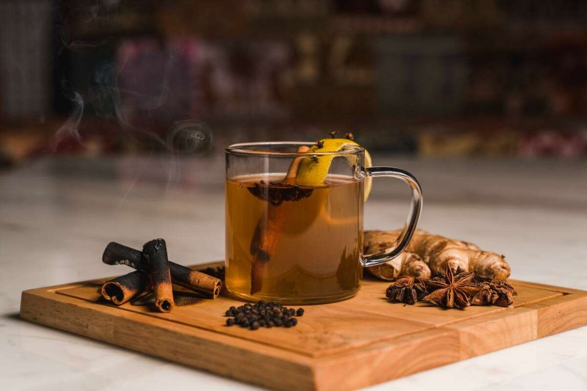 Spiced Chai Hot Toddy is a holiday drink from Musaafer restaurant made with cognac, honey, tea and spices.