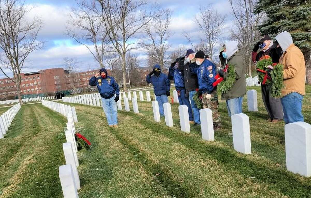 Members of Middletown's Veterans of the Vietnam War gathered at the Connecticut State Cemetery for a wreath laying for their departed comrades Dec. 6.