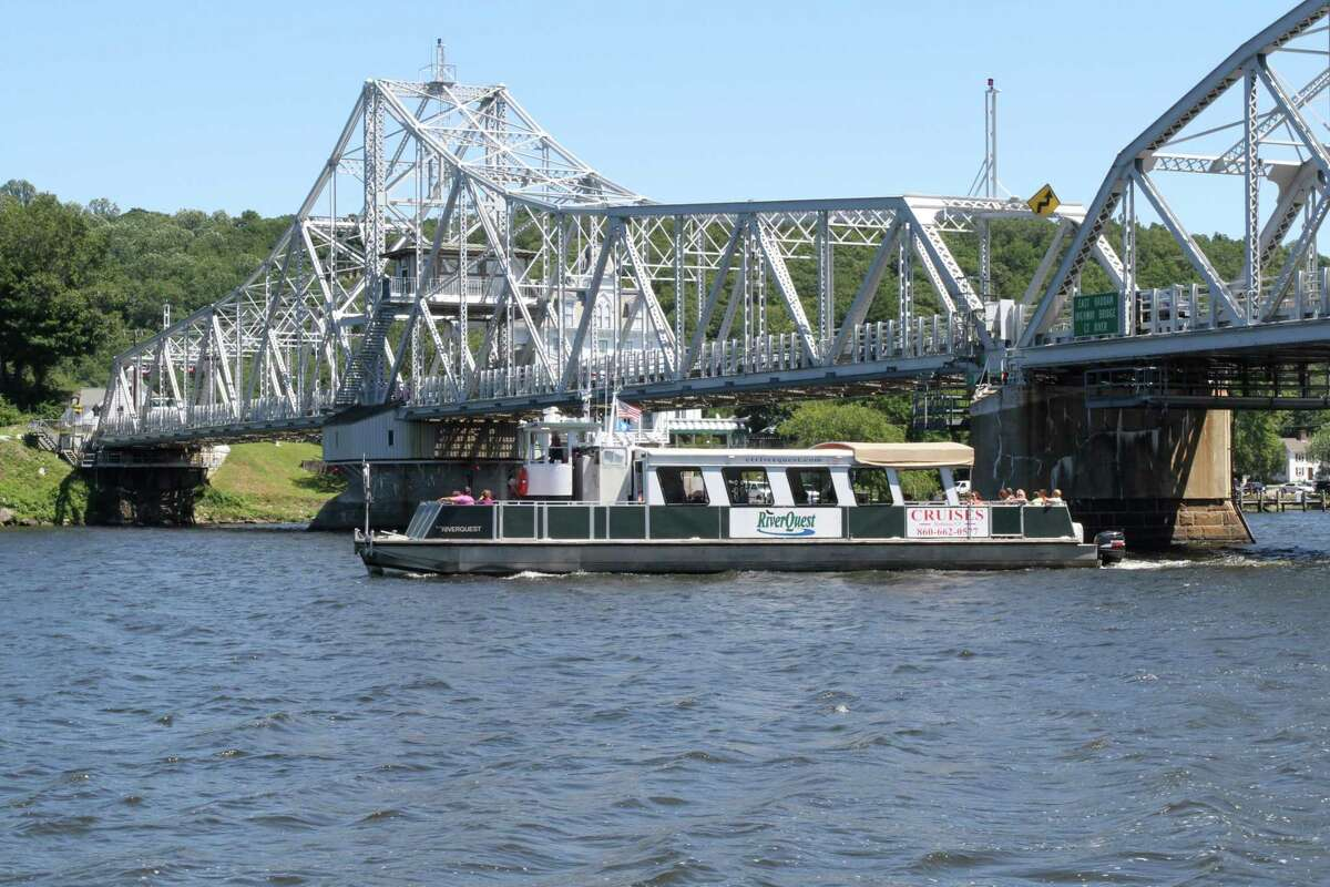 The East Haddam swing bridge spans the Connecticut River, connecting the town with Haddam.