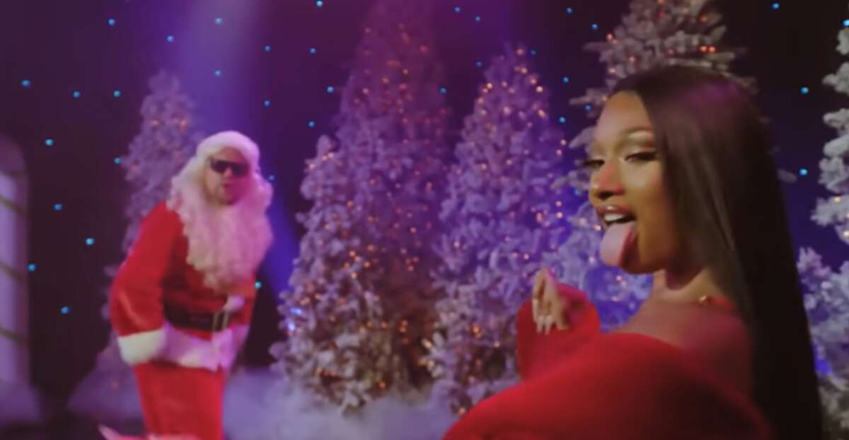 Megan Thee Stallion and James Corden will probably be on the naughty list this year, but I'm sure they'll agree that it's worth it. (Screengrab courtesy of The Late Late Show via YouTube)
