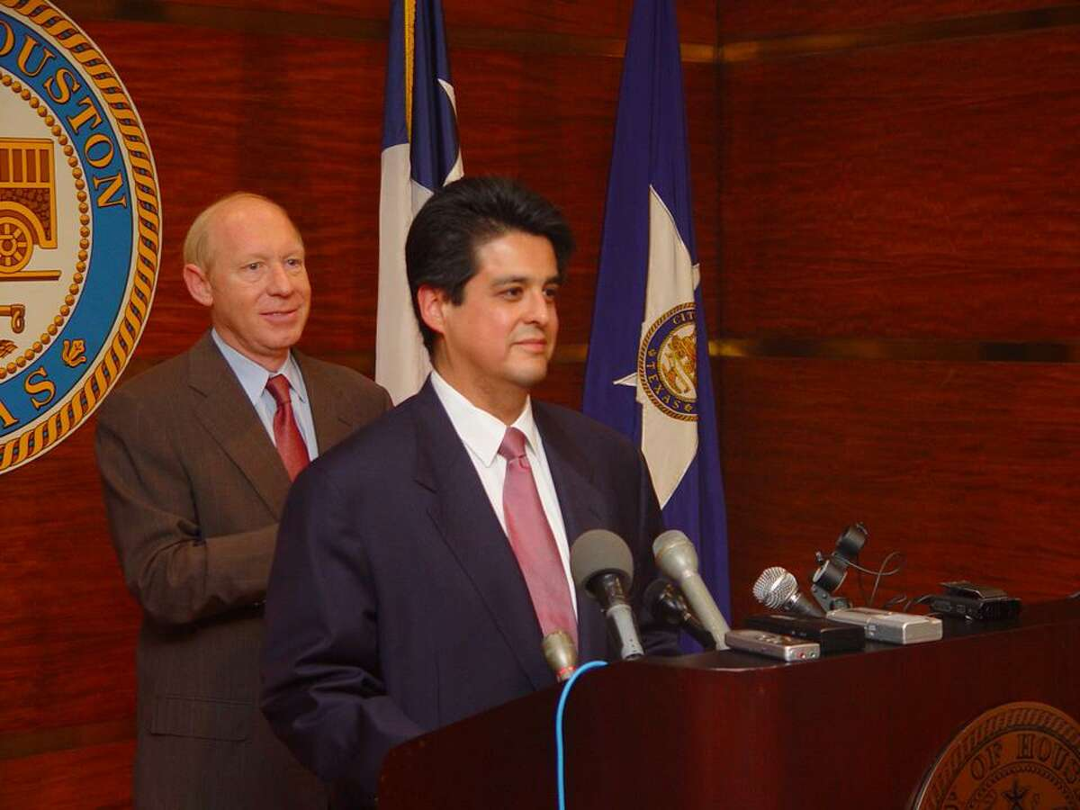 Then-Mayor Bill White announces the appointment of Arturo Michel as city attorney in 2004. Michel served until 2010, and Mayor Sylvester Turner selected him this month to return to the role.