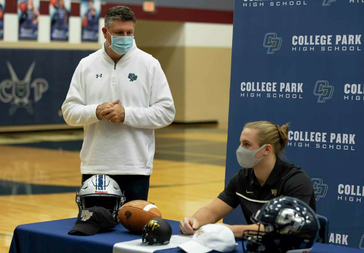 Head football coach, Lonnie Madison, offers a speech in honor of Dylan Hazen, who signed with Wake Forest's football team, during a National Signing Day ceremony at College Park High School, Wednesday, Dec. 16, 2020, in The Woodlands.