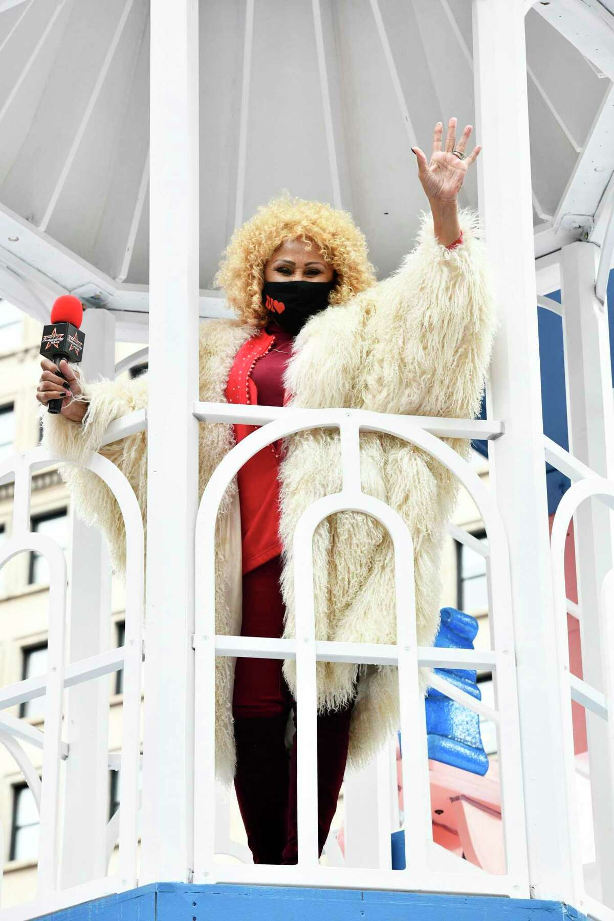 Darlene Love, who has a streaming special Christmas night that will partly benefit The Kate in Old Saybrook, stands atop the New York Life float at the Macy's Thanksgiving Day Parade recently in New York City.