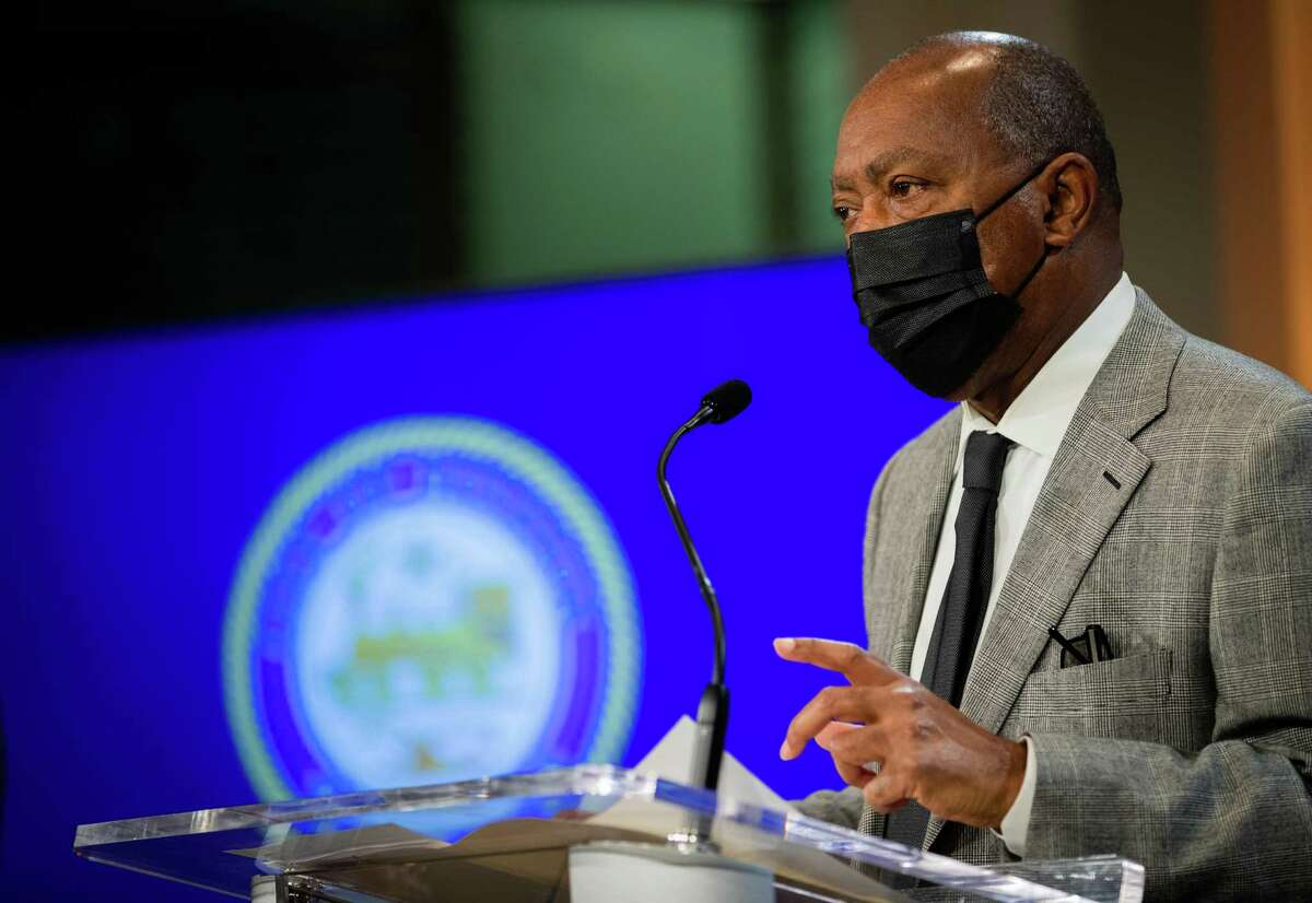 Houston Mayor Sylvester Turner lead a press conference Monday about the rise in the COVID-19 positivity rate.