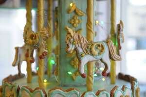 Heron American Craft Gallery in Kent is host to this sweet carousel, a 100% edible creation that defies gravity and is among the entries in this year's Kent Gingerbread Festival. The festival is among the largest in Connecticut and runs through December.