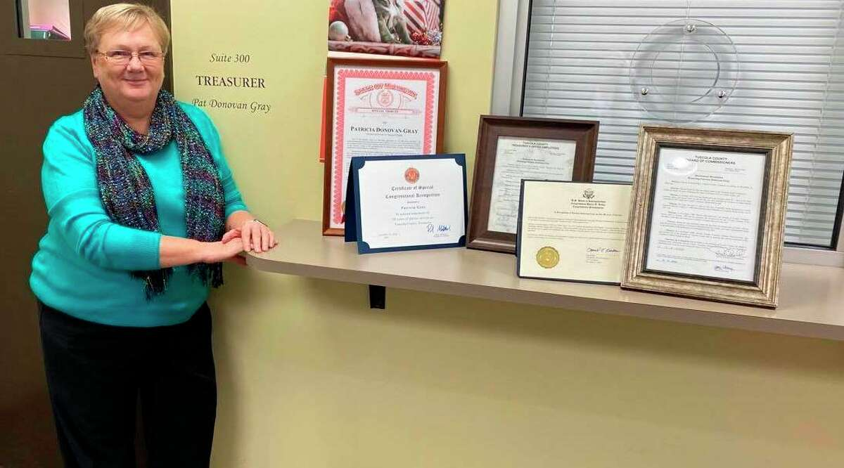 For her 48 years of service, Tuscola County Treasurer Pat Donovan Gray received honors from federal and state officials as well as local ones. Gray retires at the end of the year. (Courtesy Photo)
