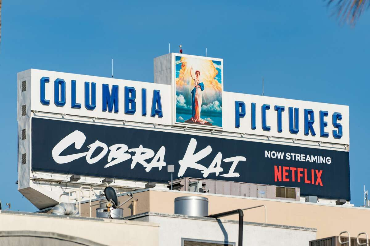 """General views of Columbia Pictures promoting the streaming series """"Cobra Kai"""" on the Sony Pictures Entertainment movie studio lot on September 29, 2020 in Culver City, California. Three years ago, Santopietro auditioned for """"Cobra Kai,"""" in which he plays Anthony LaRusso, the son of Daniel LaRusso played by Ralph Macchio, the original Karate Kid. """"I watched the original 'Karate Kid' [movies] to prepare,"""" said Santopietro. """"My grandpa, when I was little, always made me watch older movies and 'Karate Kid' was one of those. I remember it vividly."""""""