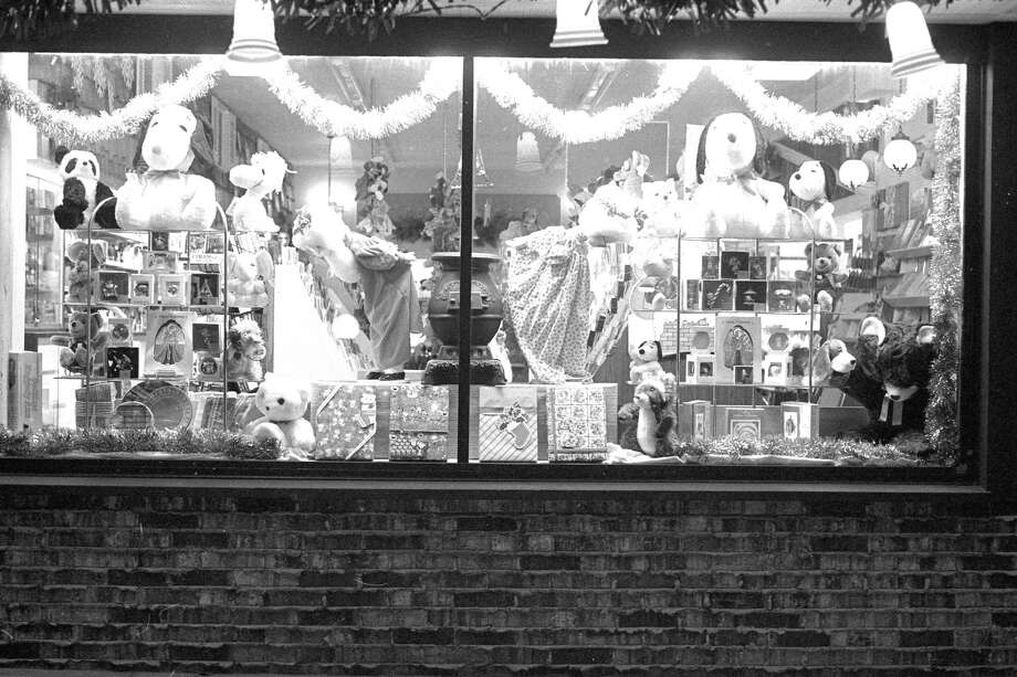 A look at the 1980 holiday decorations that were on display in the store window of Erickson's Pharmacy (formerly located on the corner of First and Division Street). (Manistee County Historical Museum photo)